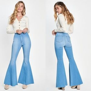 Light stone wash flare jeans